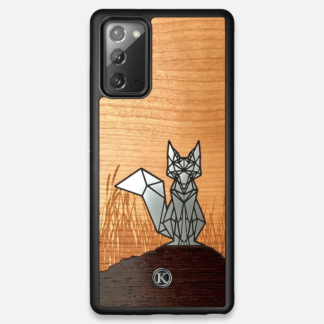Front view of the Silver Fox & Cherry Wood Galaxy Note 20 Case by Keyway Designs