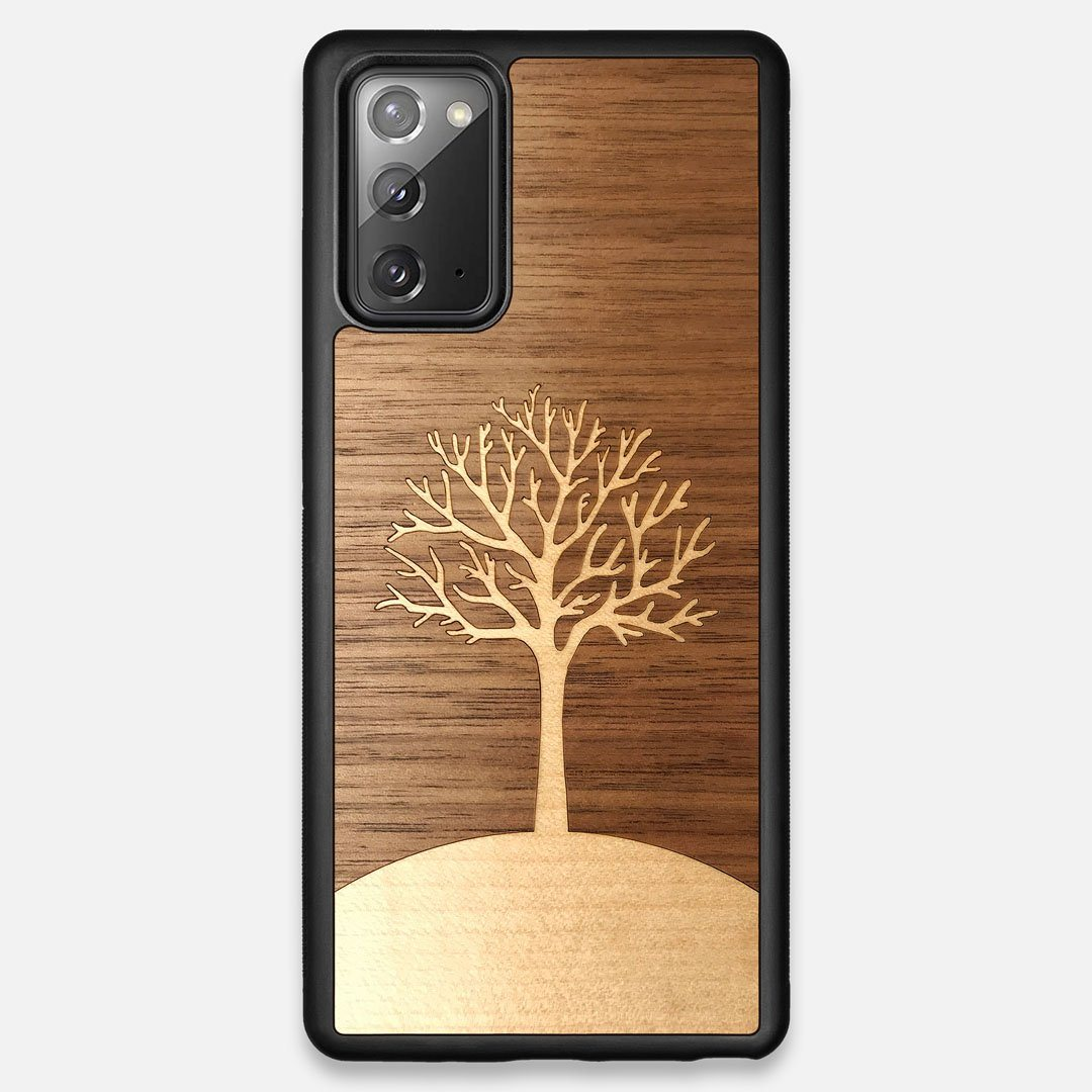Front view of the Tree Of Life Walnut Wood Galaxy Note 20 Case by Keyway Designs