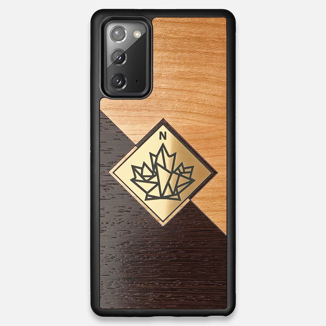 Front view of the True North by Northern Philosophy Cherry & Wenge Wood Galaxy Note 20 Case by Keyway Designs
