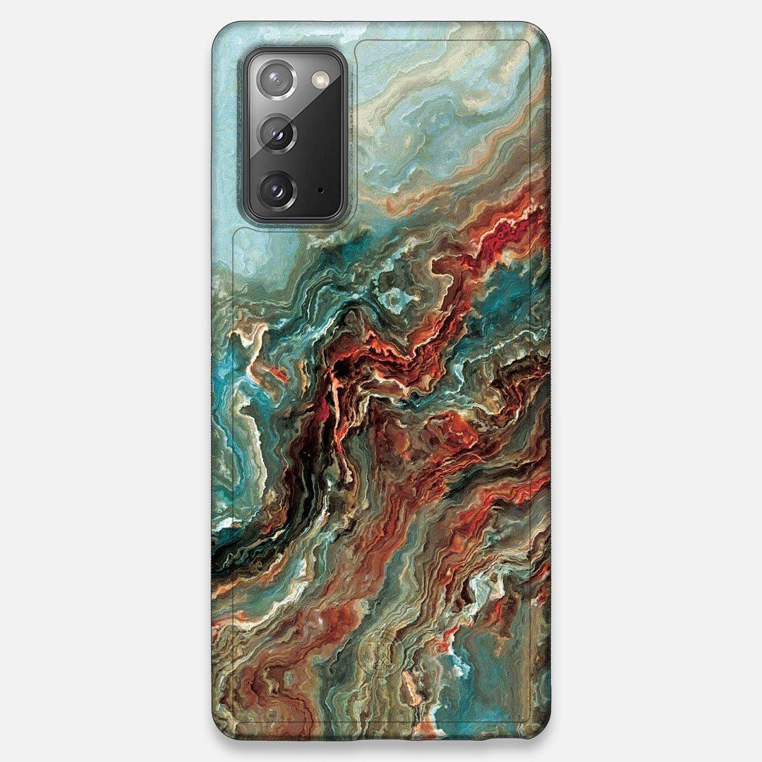 Front view of the vibrant and rich Red & Green flowing marble pattern printed Wenge Wood Galaxy Note 20 Case by Keyway Designs