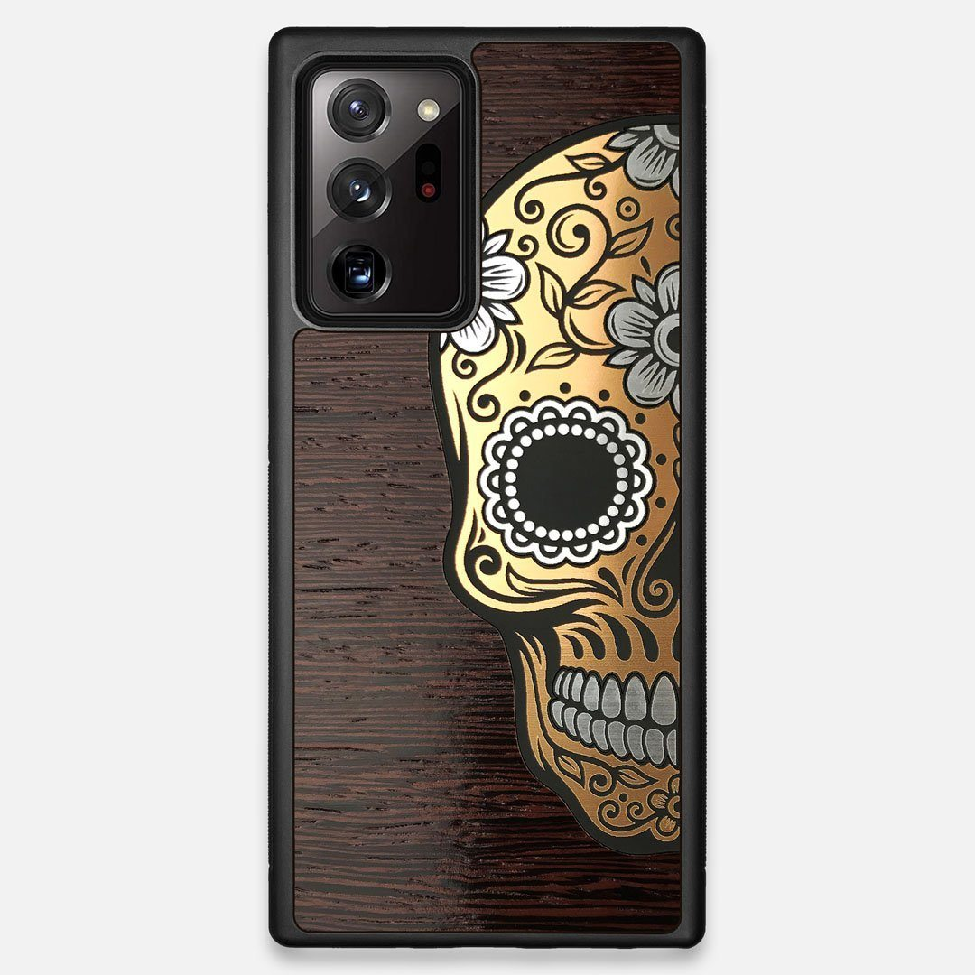 Front view of the Calavera Wood Sugar Skull Wood Galaxy Note 20 Ultra Case by Keyway Designs