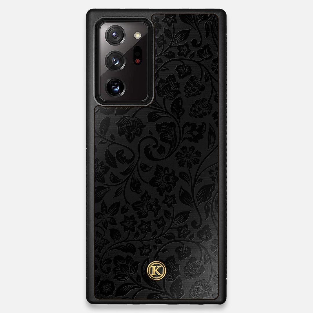 Front view of the highly detailed midnight floral engraving on matte black impact acrylic Galaxy Note 20 Ultra Case by Keyway Designs