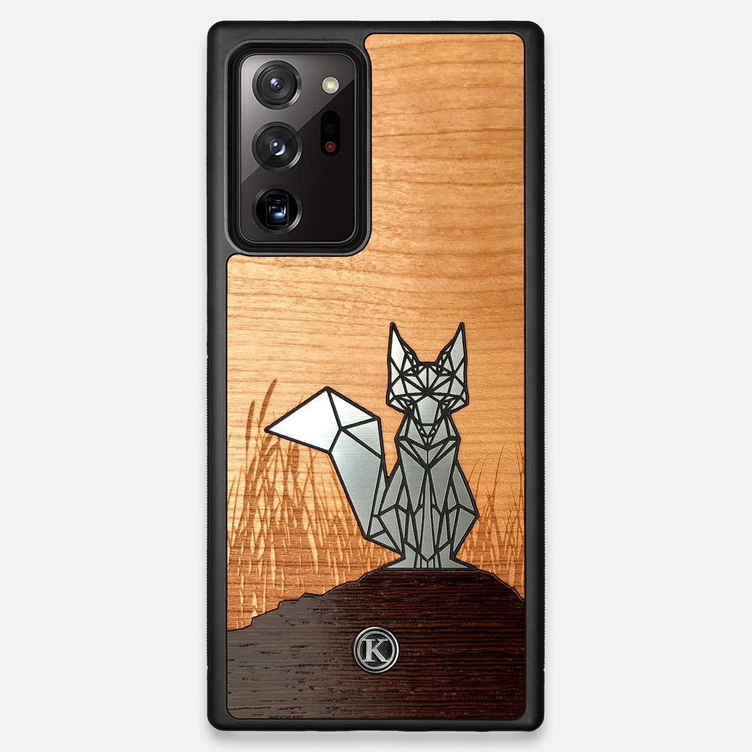 Front view of the Silver Fox & Cherry Wood Galaxy Note 20 Ultra Case by Keyway Designs