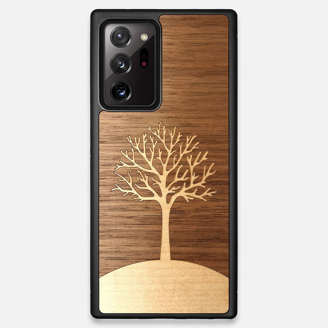Front view of the Tree Of Life Walnut Wood Galaxy Note 20 Ultra Case by Keyway Designs