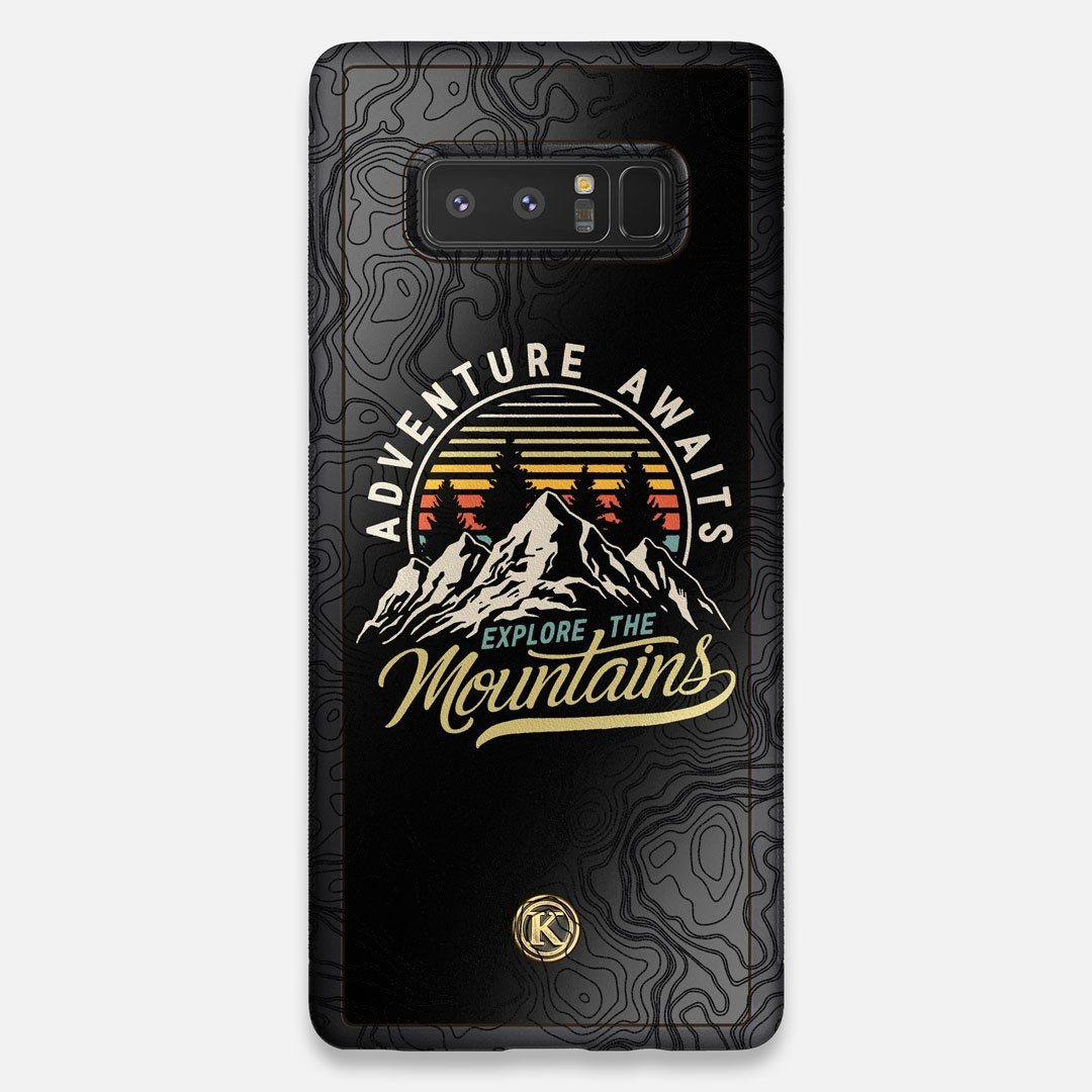 Front view of the crisp topographical map with Explorer badge printed on matte black impact acrylic Galaxy Note 8 Case by Keyway Designs
