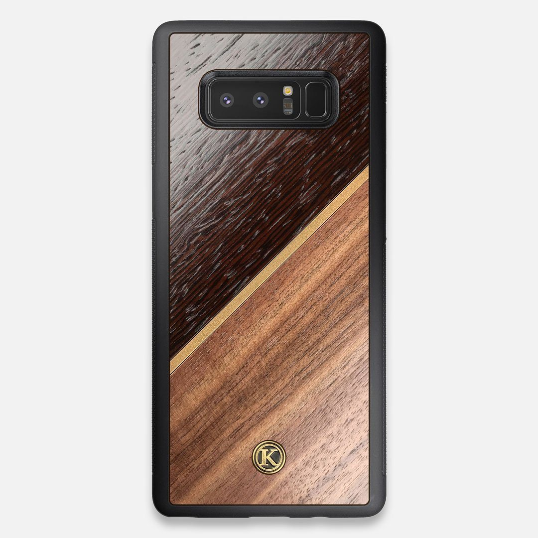 Front view of the Alium Walnut, Gold, and Wenge Elegant Wood Galaxy Note 8 Case by Keyway Designs