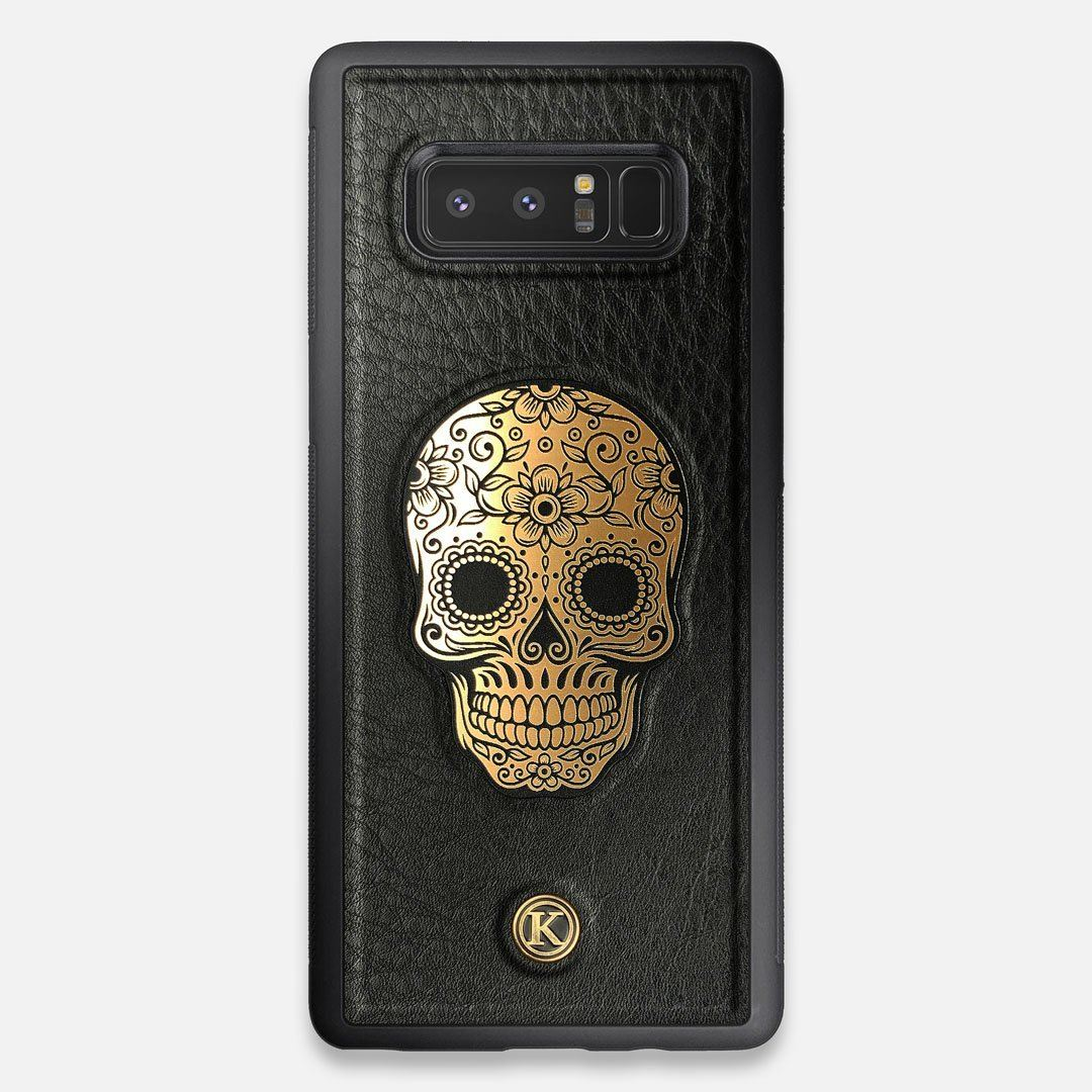 Front view of the Auric Black Leather Galaxy Note 8 Case by Keyway Designs