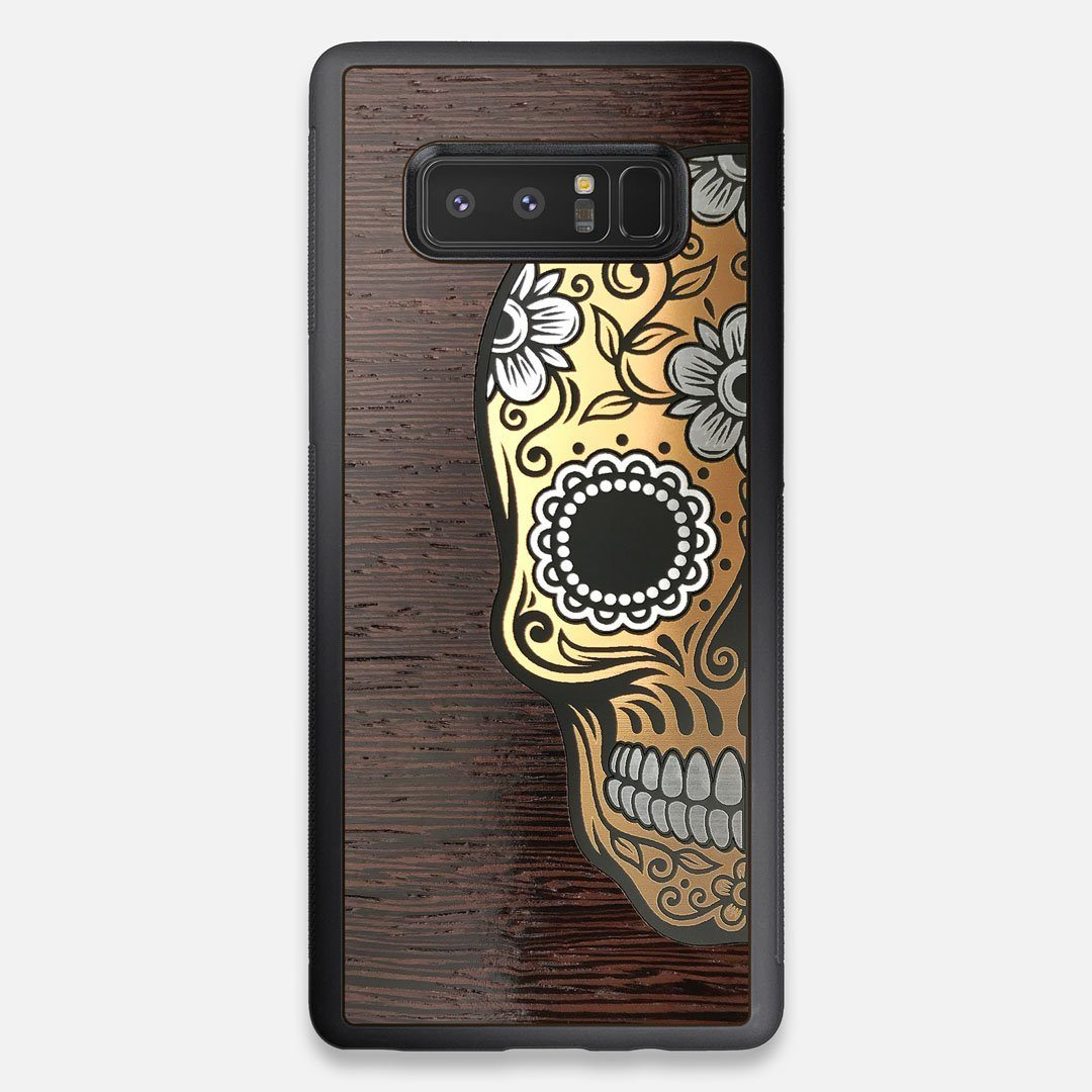 Front view of the Calavera Wood Sugar Skull Wood Galaxy Note 8 Case by Keyway Designs