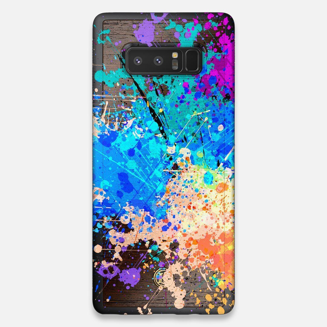 Front view of the realistic paint splatter 'Chroma' printed Wenge Wood Galaxy Note 8 Case by Keyway Designs