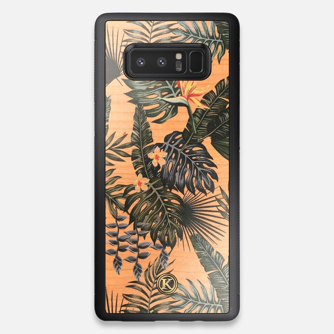 Front view of the Floral tropical leaf printed Cherry Wood Galaxy Note 8 Case by Keyway Designs