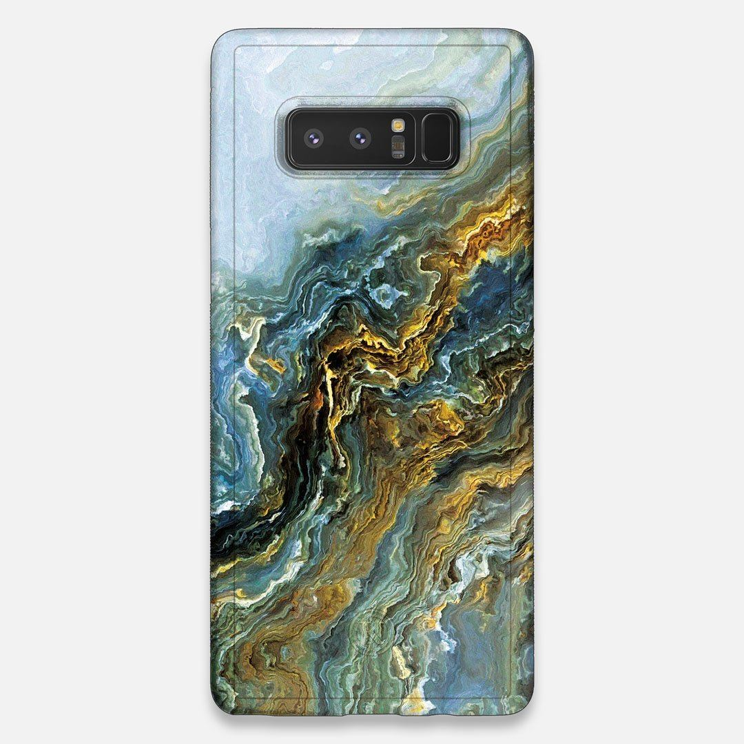 Front view of the vibrant and rich Blue & Gold flowing marble pattern printed Wenge Wood Galaxy Note 8 Case by Keyway Designs