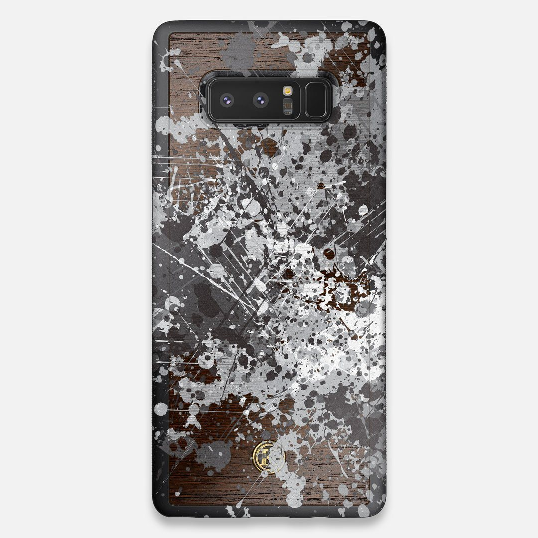 Front view of the aggressive, monochromatic splatter pattern overprintedprinted Wenge Wood Galaxy Note 8 Case by Keyway Designs