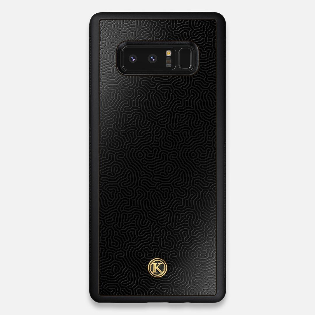 Front view of the highly detailed organic growth engraving on matte black impact acrylic Galaxy Note 8 Case by Keyway Designs