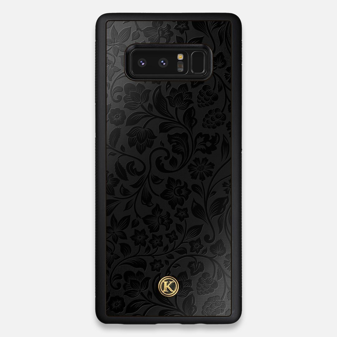 Front view of the highly detailed midnight floral engraving on matte black impact acrylic Galaxy Note 8 Case by Keyway Designs