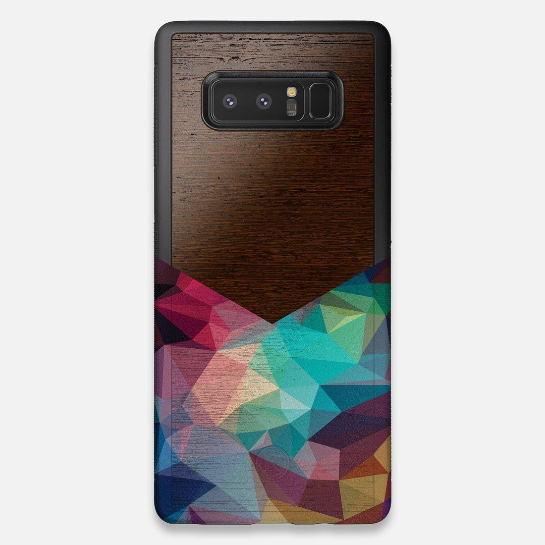Front view of the vibrant Geometric Gradient printed Wenge Wood Galaxy Note 8 Case by Keyway Designs