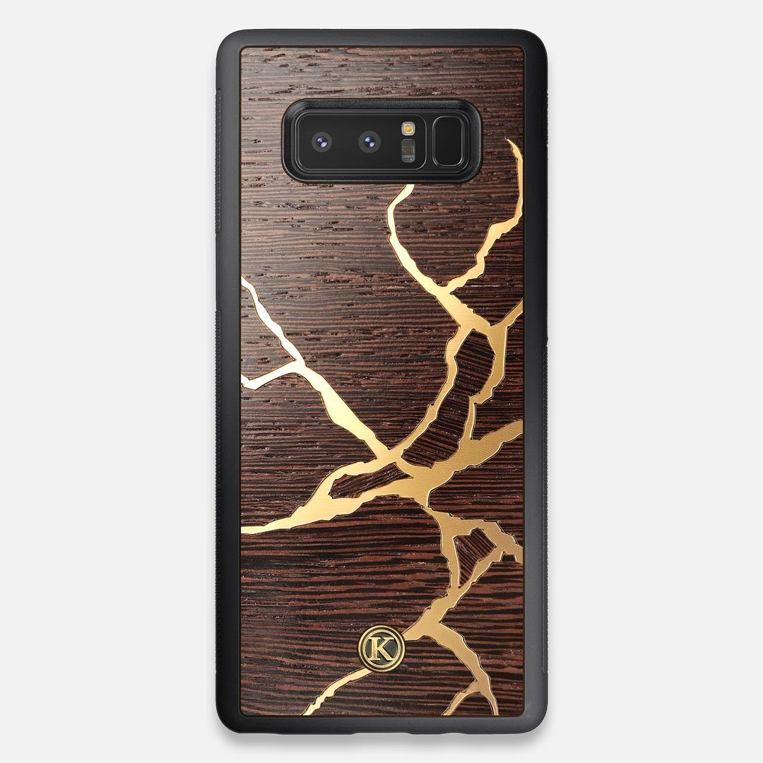 Front view of the Kintsugi inspired Gold and Wenge Wood Galaxy Note 8 Case by Keyway Designs