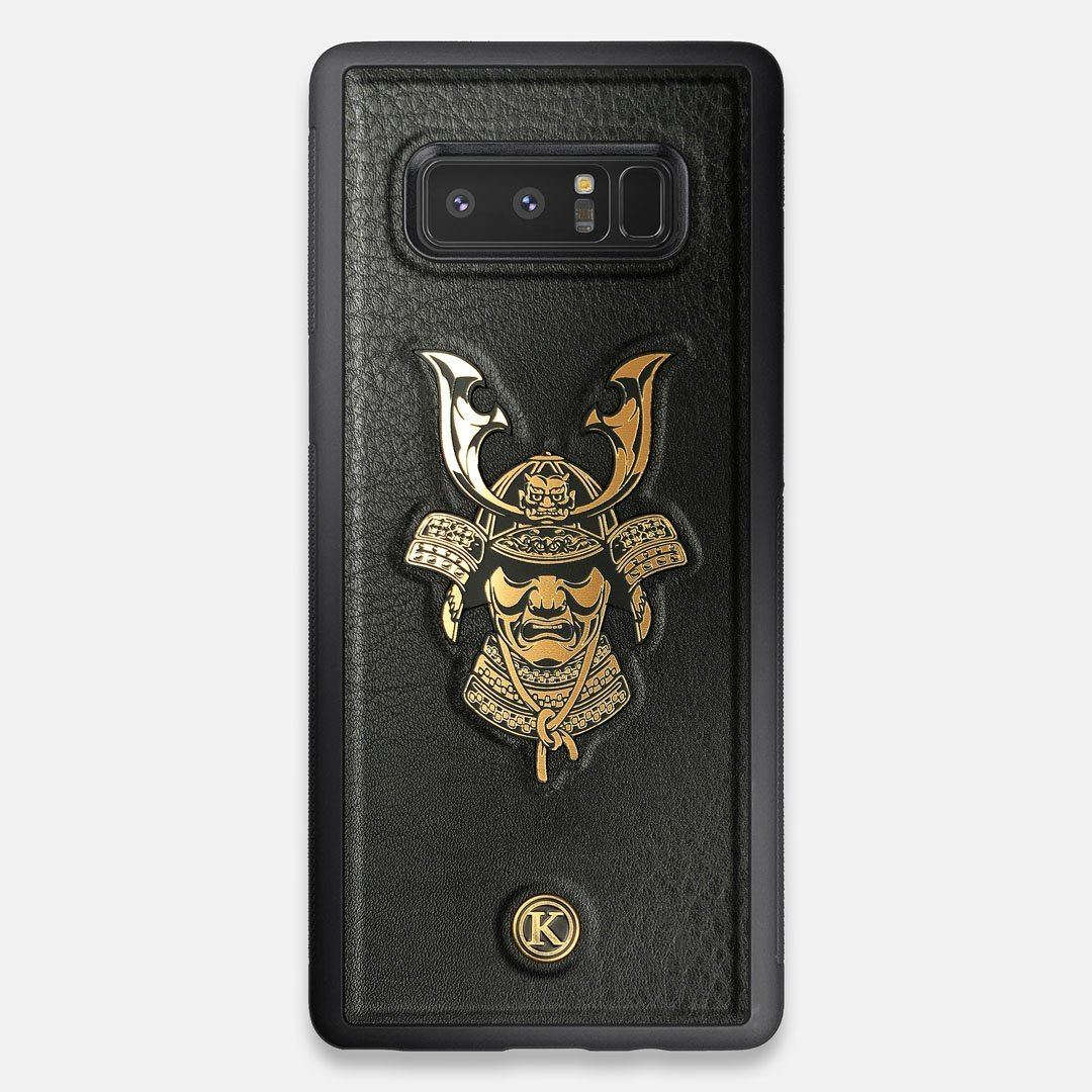 Front view of the Samurai Black Leather Galaxy Note 8 Case by Keyway Designs