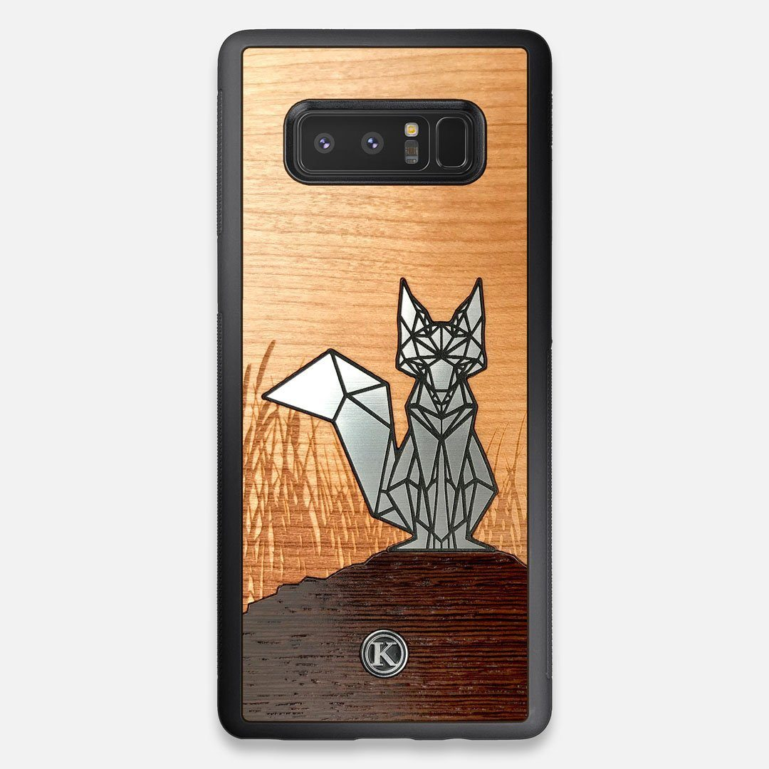 Front view of the Silver Fox & Cherry Wood Galaxy Note 8 Case by Keyway Designs