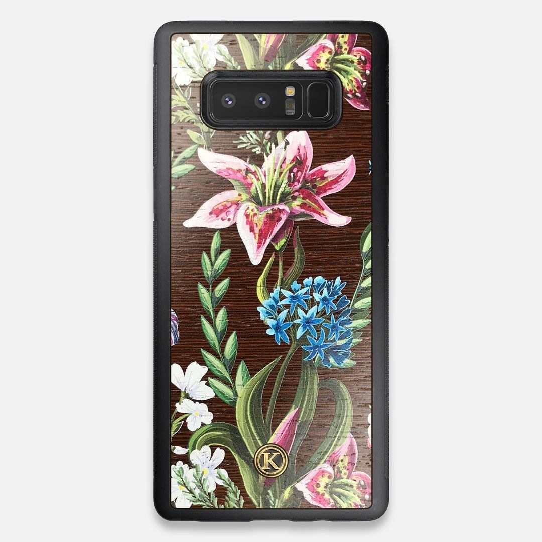 Front view of the Stargazer Lily printed Wenge Wood Galaxy Note 8 Case by Keyway Designs