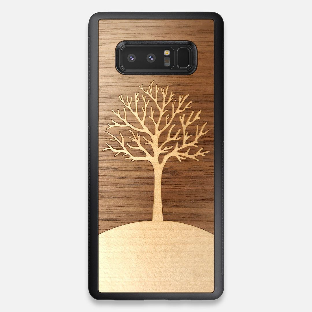 Front view of the Tree Of Life Walnut Wood Galaxy Note 8 Case by Keyway Designs