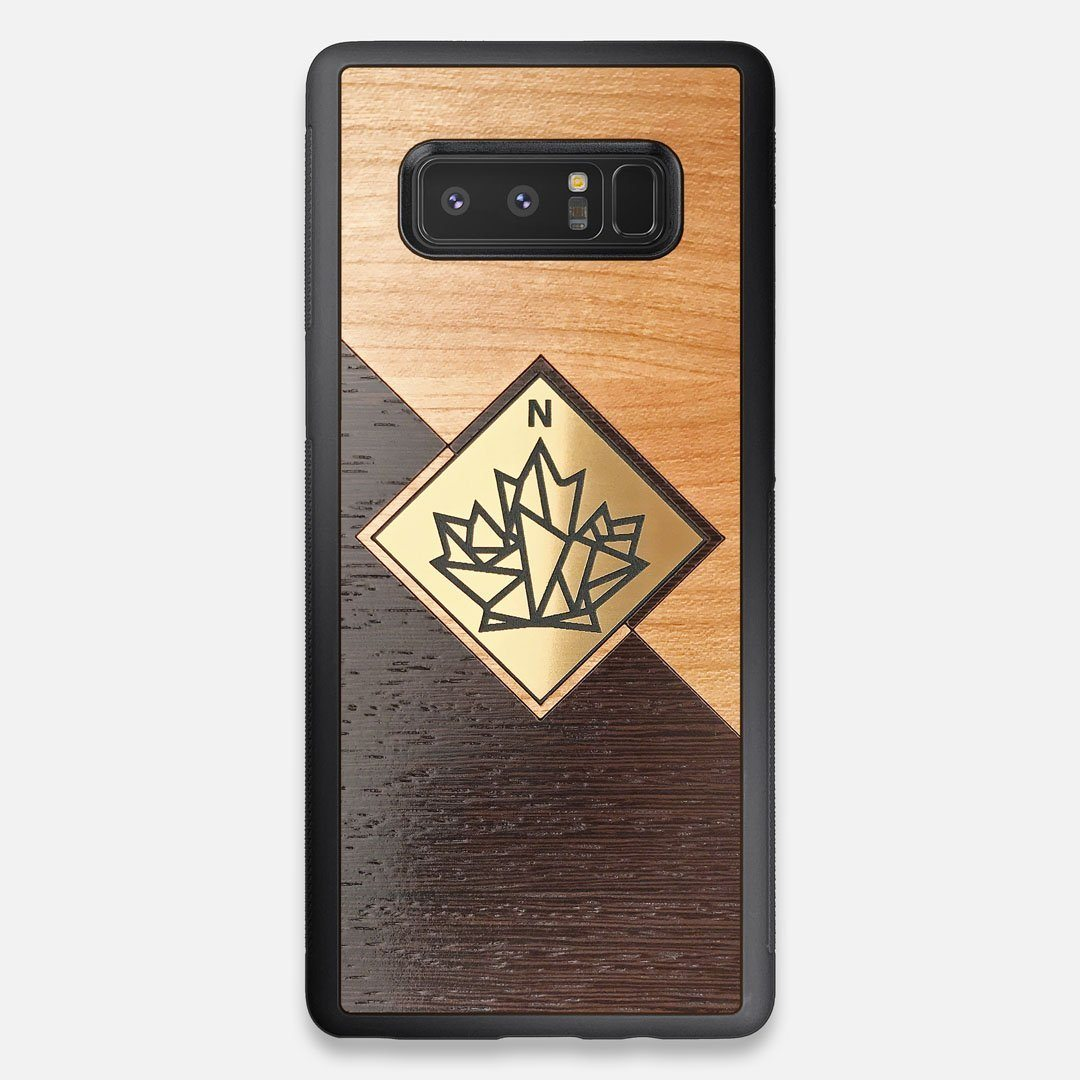 Front view of the True North by Northern Philosophy Cherry & Wenge Wood Galaxy Note 8 Case by Keyway Designs