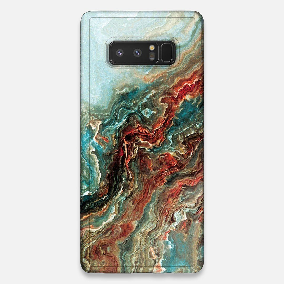 Front view of the vibrant and rich Red & Green flowing marble pattern printed Wenge Wood Galaxy Note 8 Case by Keyway Designs