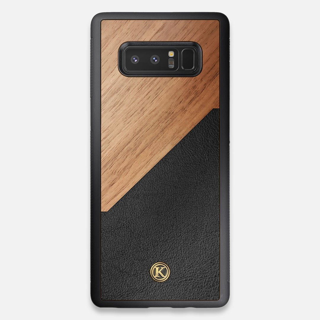 Front view of the Walnut Rift Elegant Wood & Leather Galaxy Note 8 Case by Keyway Designs
