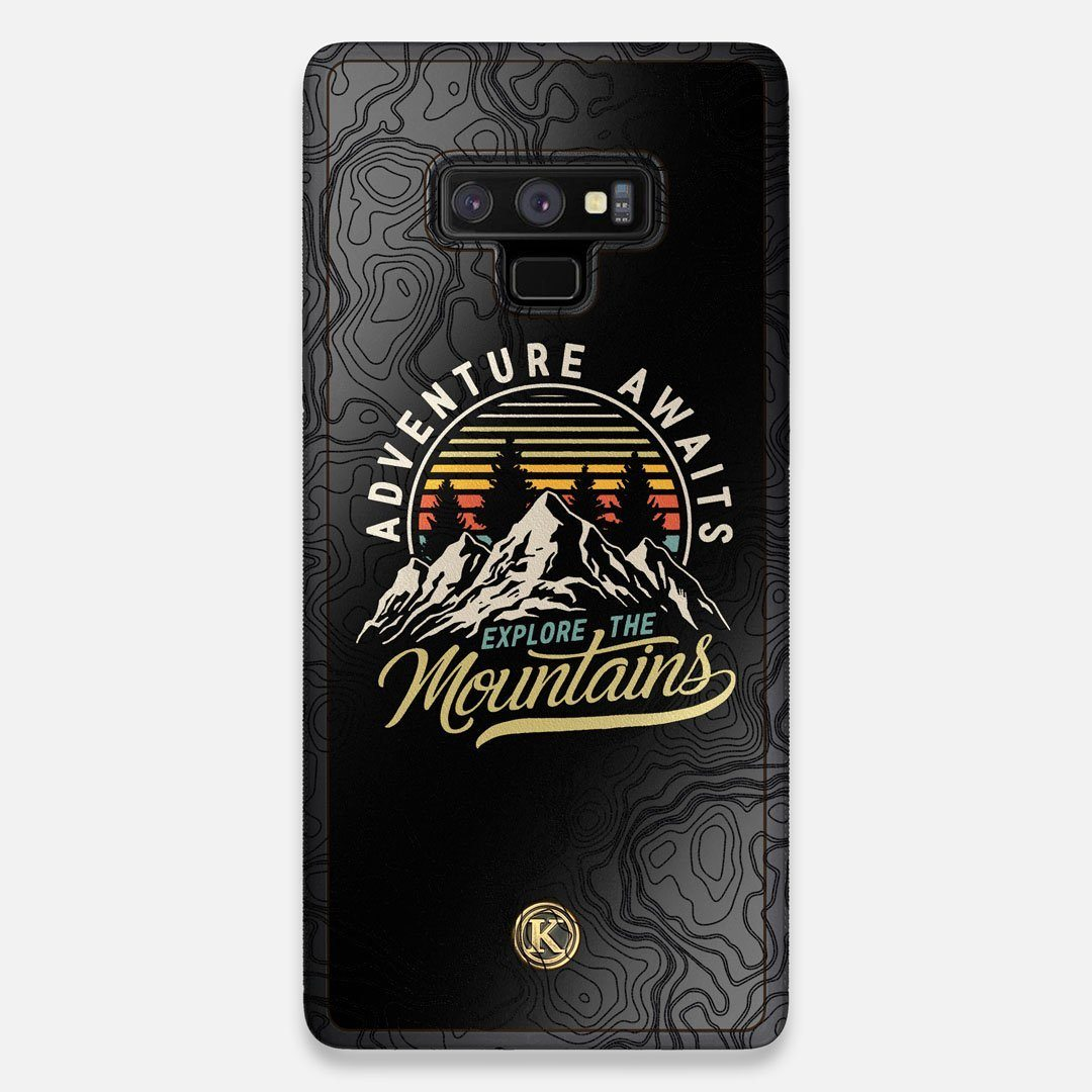 Front view of the crisp topographical map with Explorer badge printed on matte black impact acrylic Galaxy Note 9 Case by Keyway Designs