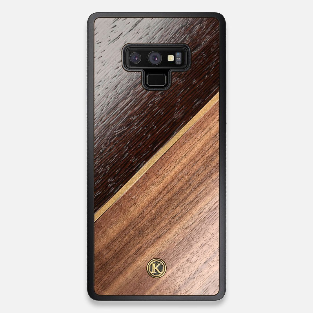 Front view of the Alium Walnut, Gold, and Wenge Elegant Wood Galaxy Note 9 Case by Keyway Designs