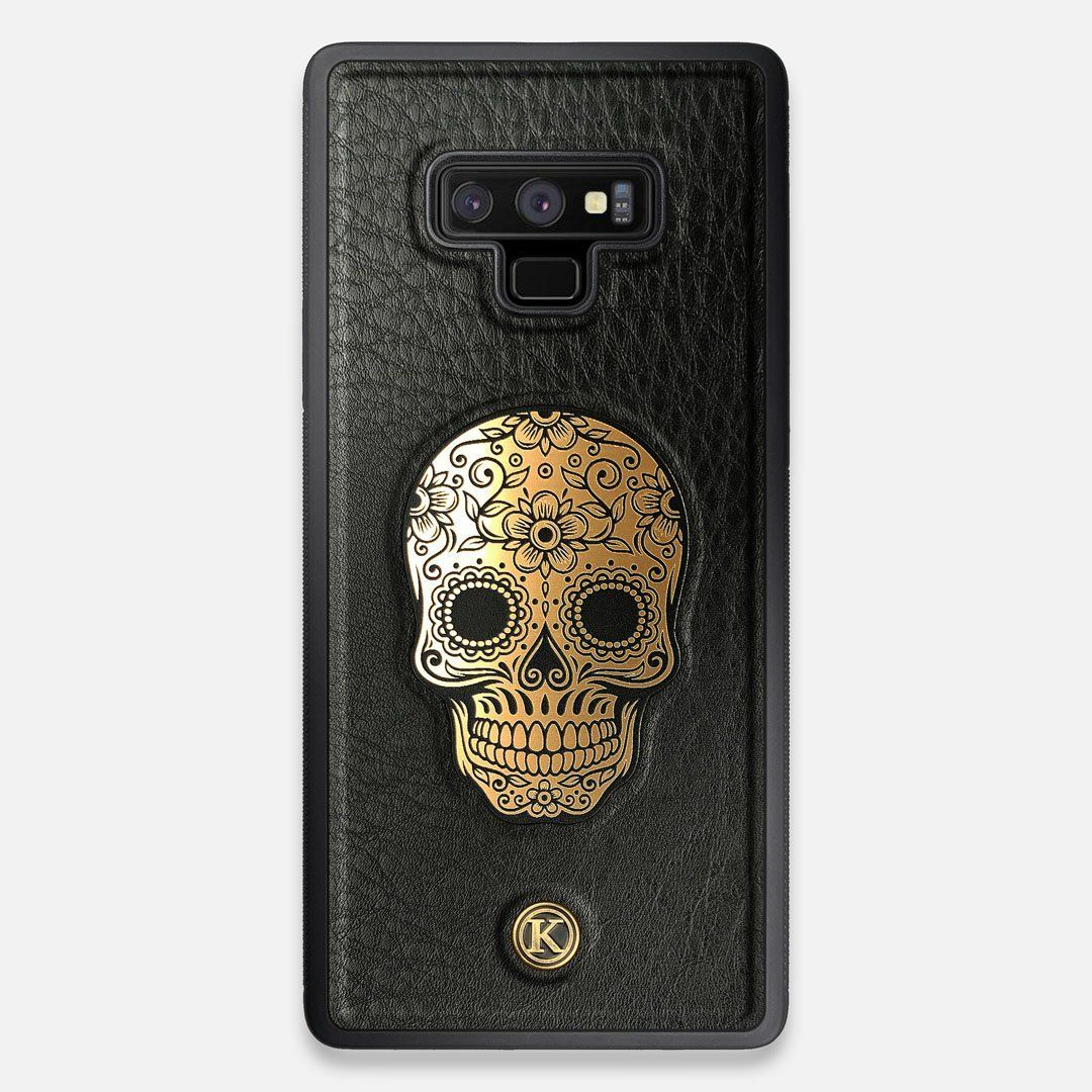 Front view of the Auric Black Leather Galaxy Note 9 Case by Keyway Designs
