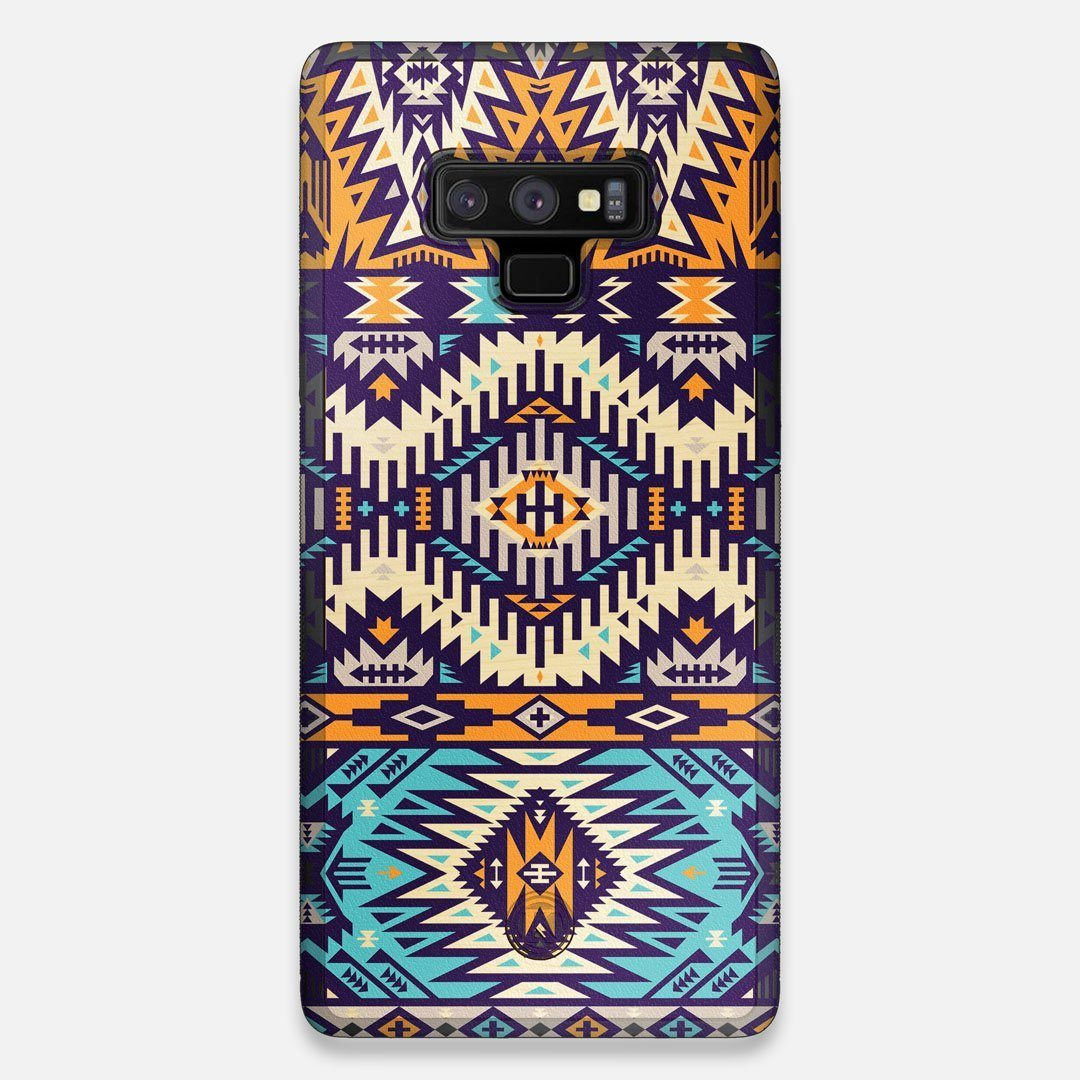 Front view of the vibrant Aztec printed Maple Wood Galaxy Note 9 Case by Keyway Designs