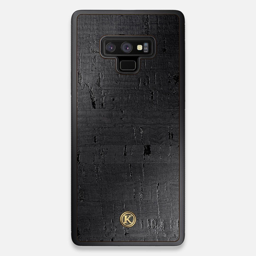 Front view of the dyed black natural cork Galaxy Note 9 Case by Keyway Designs