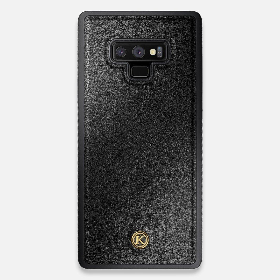 Front view of the Blank Black Leather Galaxy Note 9 Case by Keyway Designs