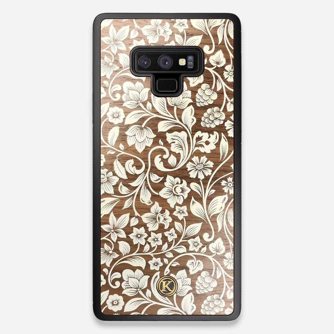 Front view of the Blossom Whitewash Wood Galaxy Note 9 Case by Keyway Designs