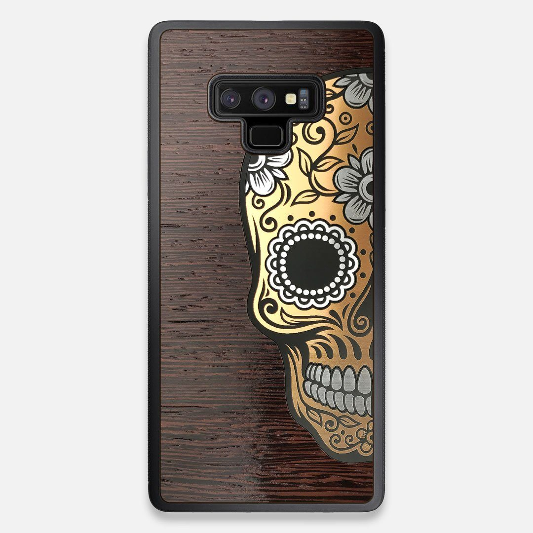 Front view of the Calavera Wood Sugar Skull Wood Galaxy Note 9 Case by Keyway Designs