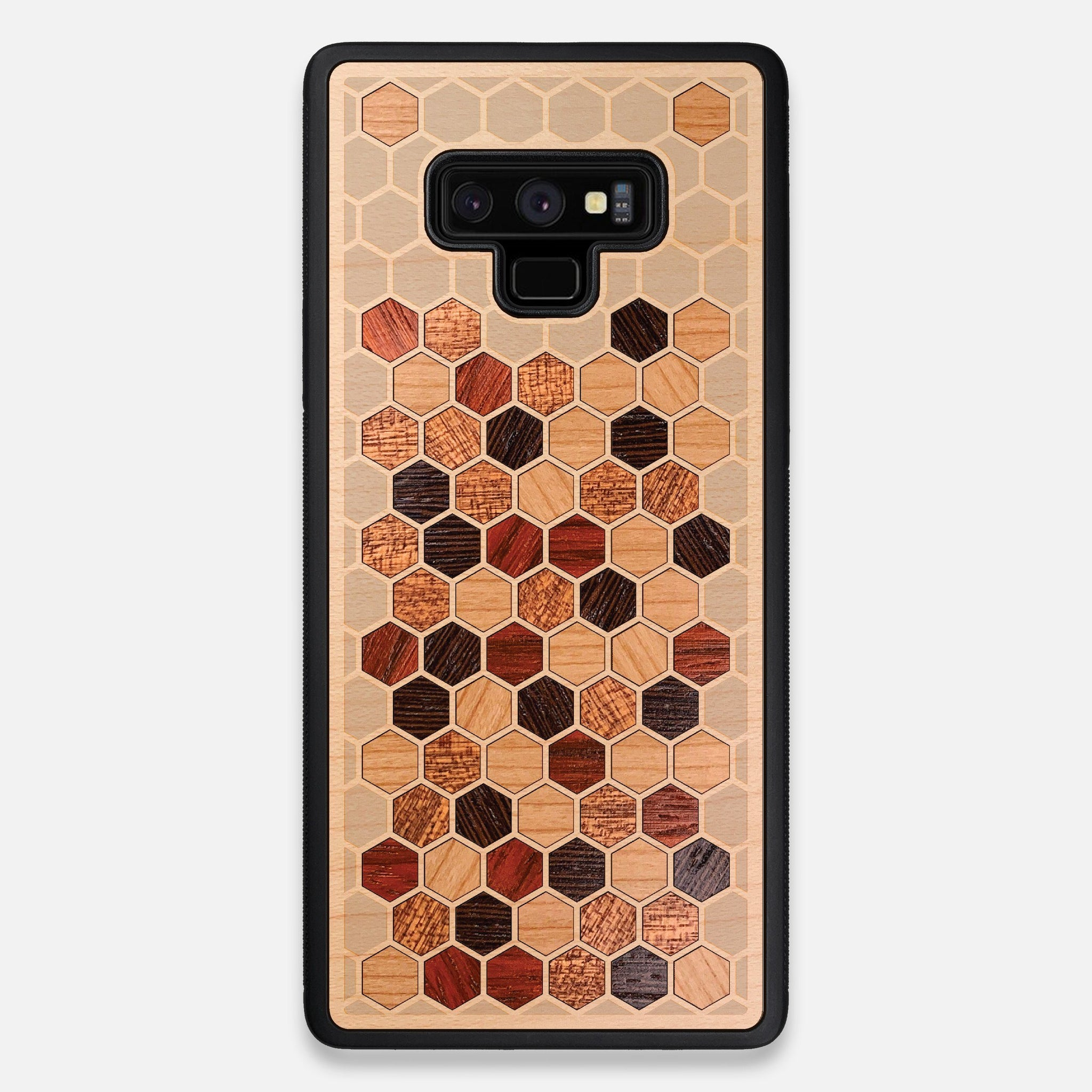 Front view of the Cellular Maple Wood Galaxy Note 9 Case by Keyway Designs