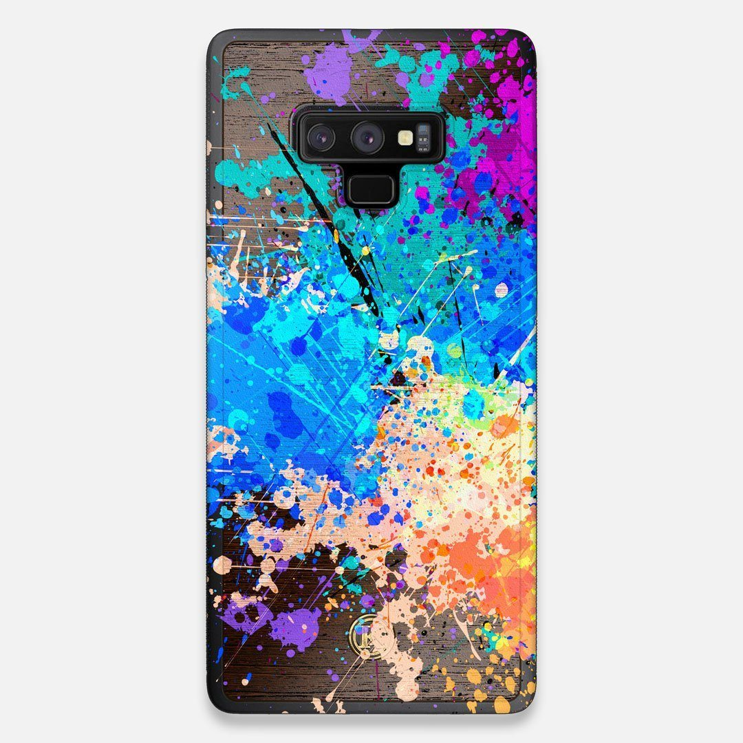 Front view of the realistic paint splatter 'Chroma' printed Wenge Wood Galaxy Note 9 Case by Keyway Designs