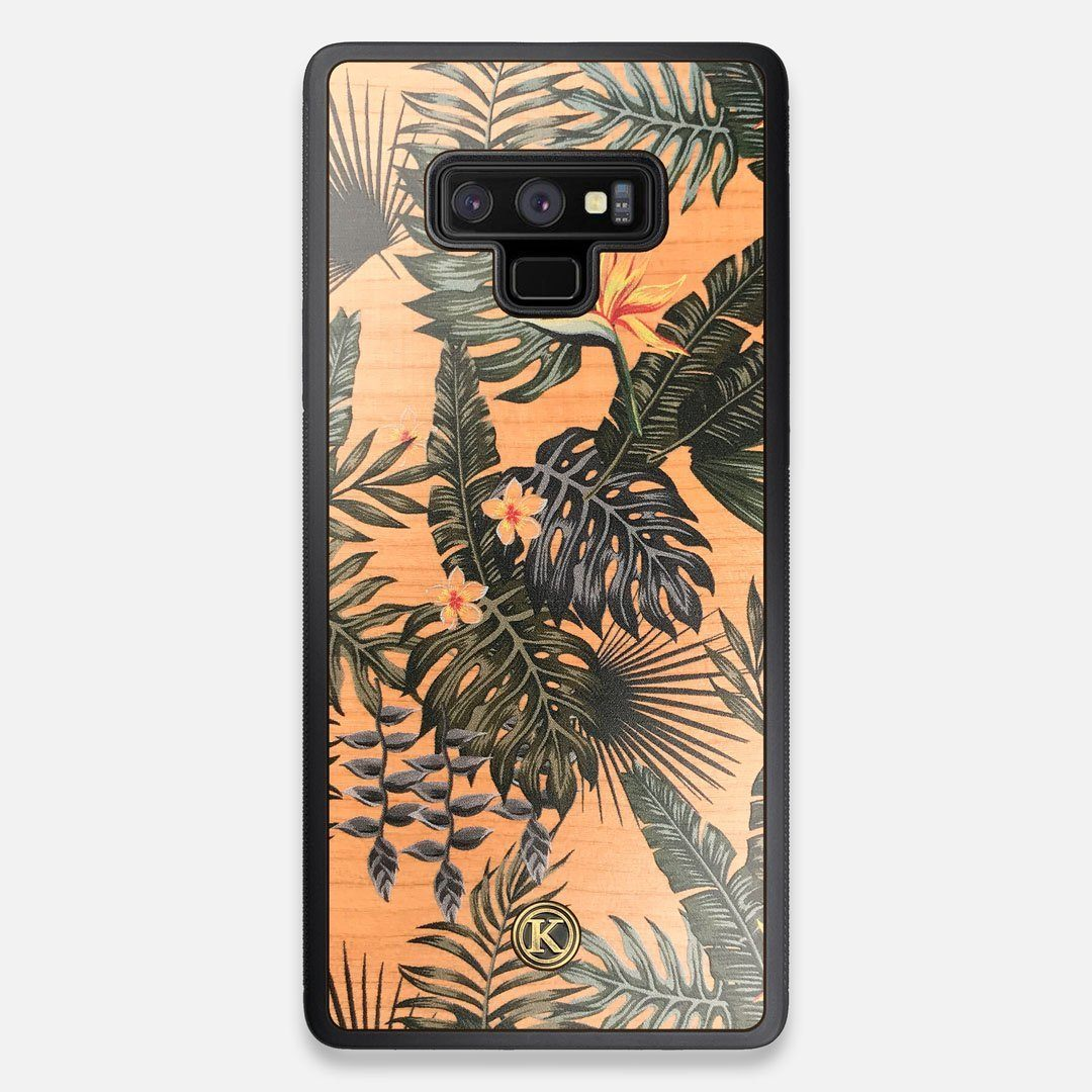 Front view of the Floral tropical leaf printed Cherry Wood Galaxy Note 9 Case by Keyway Designs