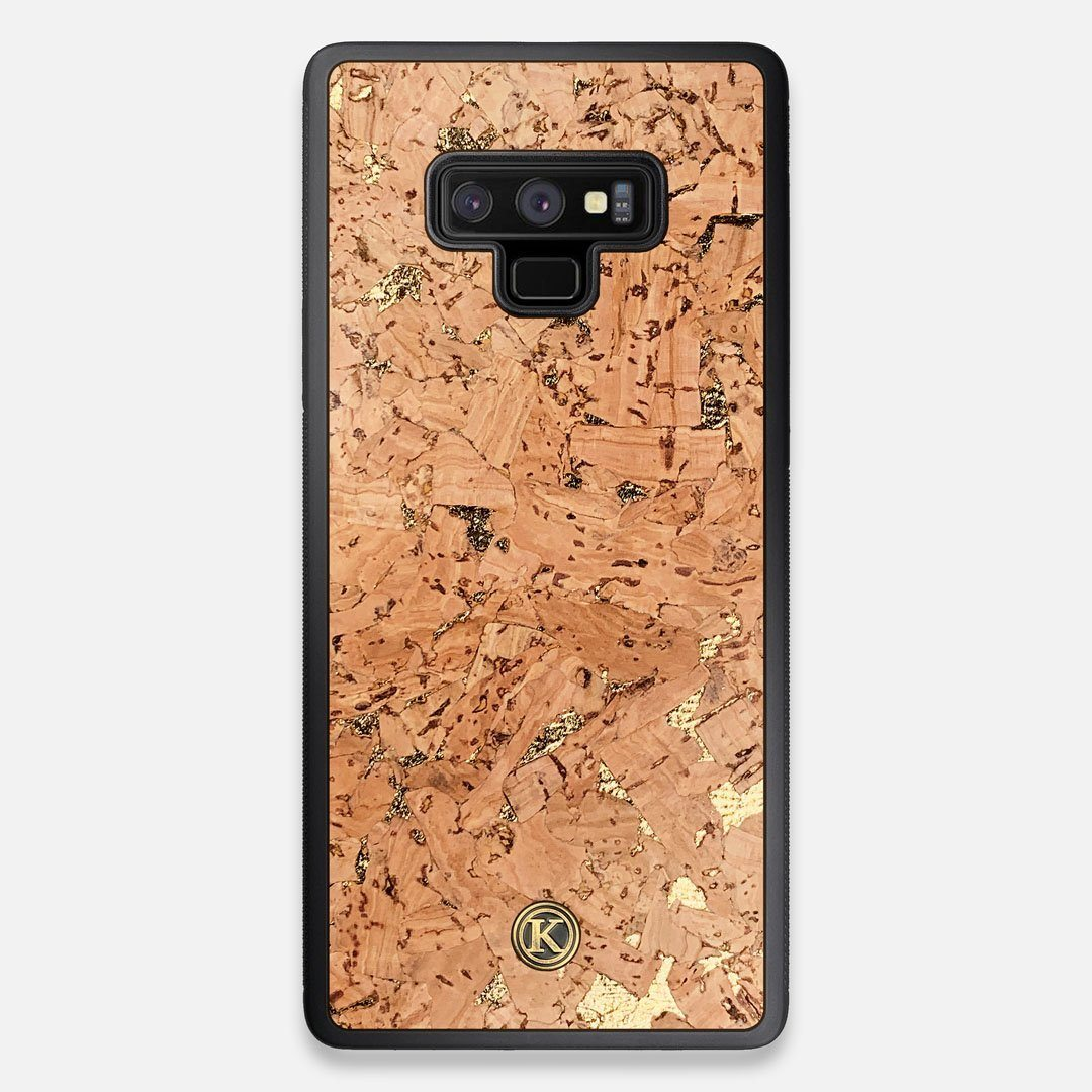 Front view of the gold fleck natural cork Galaxy Note 9 Case by Keyway Designs