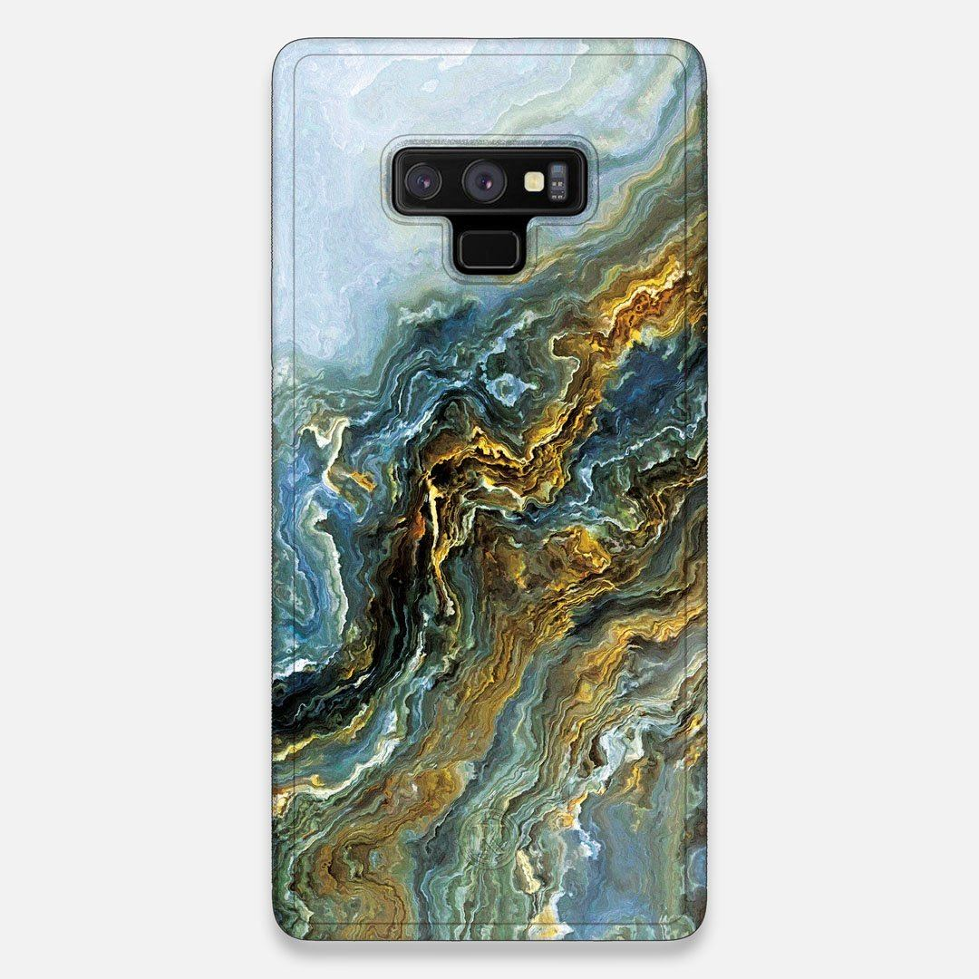 Front view of the vibrant and rich Blue & Gold flowing marble pattern printed Wenge Wood Galaxy Note 9 Case by Keyway Designs