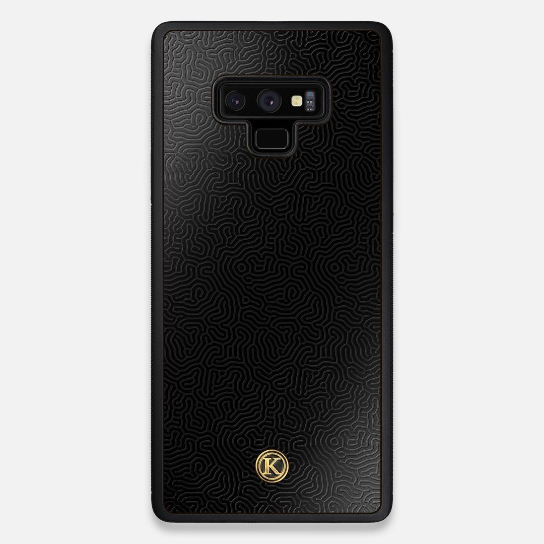Front view of the highly detailed organic growth engraving on matte black impact acrylic Galaxy Note 9 Case by Keyway Designs
