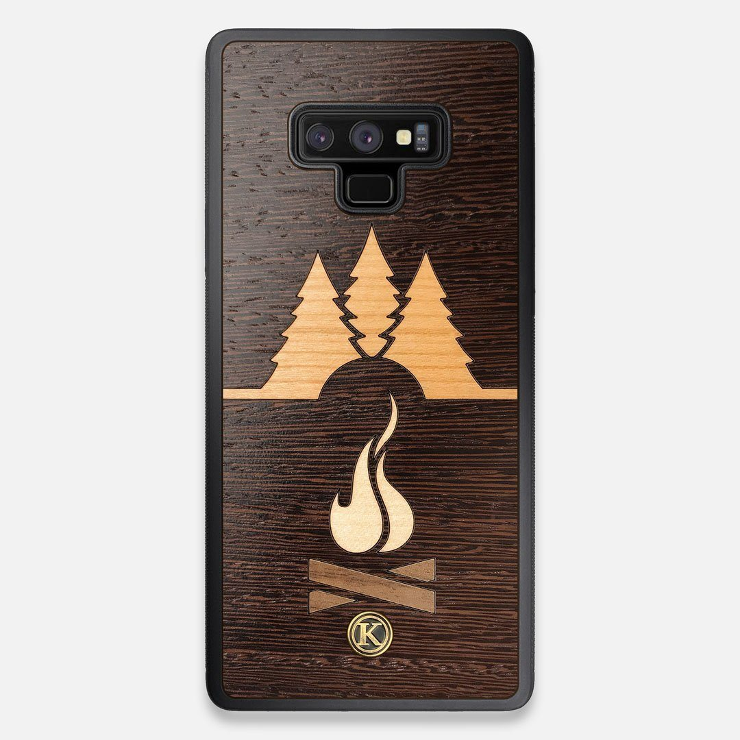 Front view of the Nomad Campsite Wood Galaxy Note 9 Case by Keyway Designs