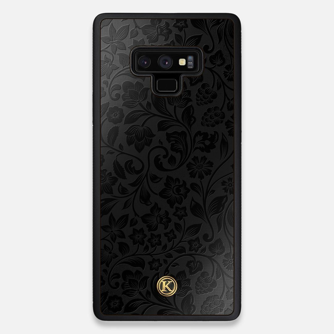 Front view of the highly detailed midnight floral engraving on matte black impact acrylic Galaxy Note 9 Case by Keyway Designs