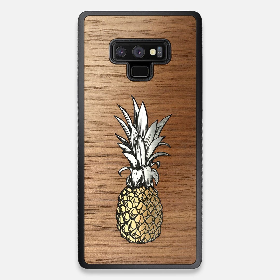 Front view of the Pineapple Walnut Wood Galaxy Note 9 Case by Keyway Designs