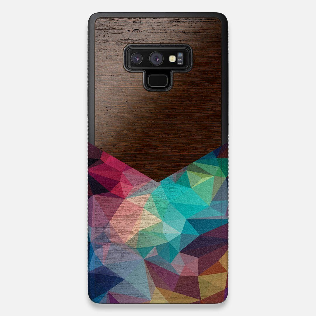 Front view of the vibrant Geometric Gradient printed Wenge Wood Galaxy Note 9 Case by Keyway Designs