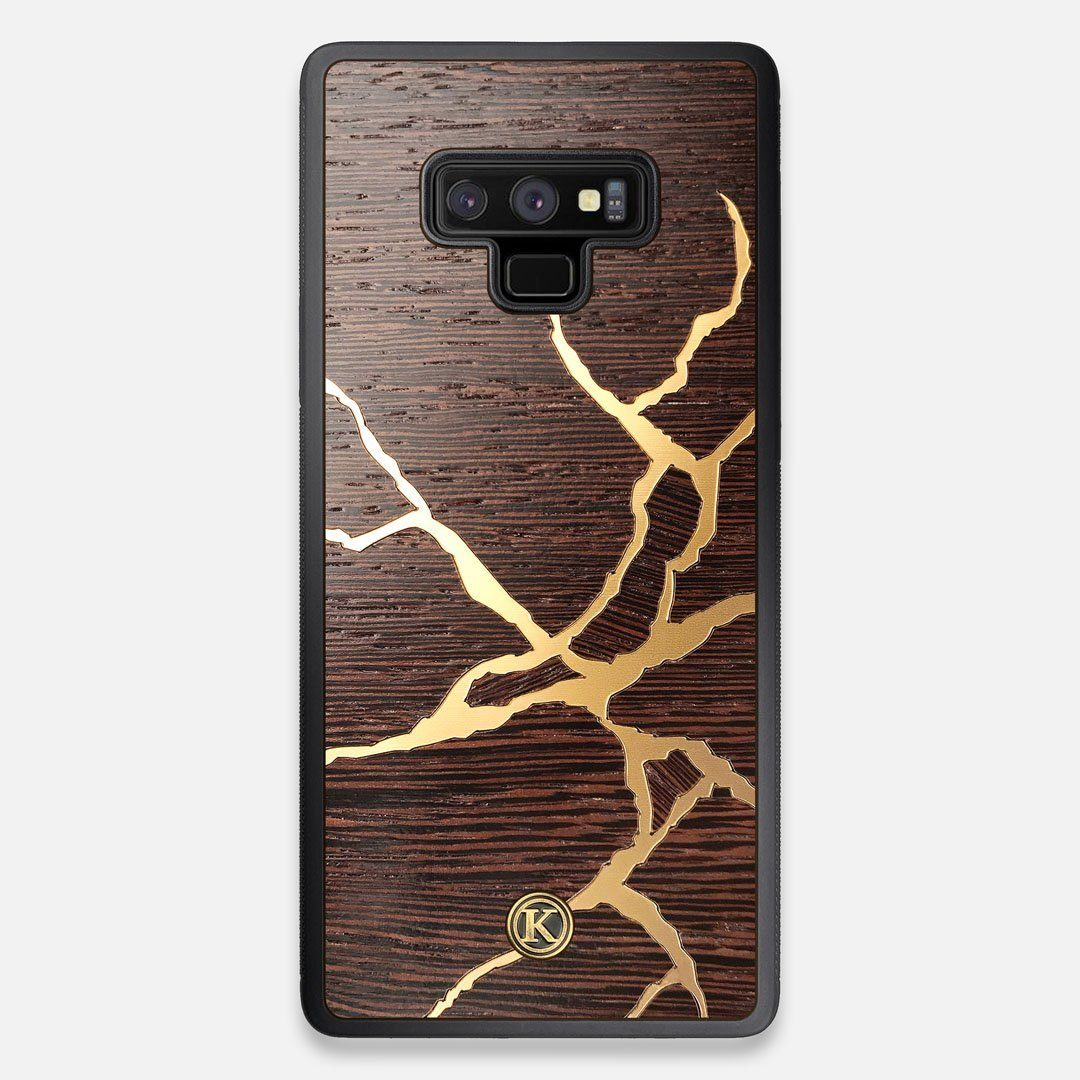 Front view of the Kintsugi inspired Gold and Wenge Wood Galaxy Note 9 Case by Keyway Designs