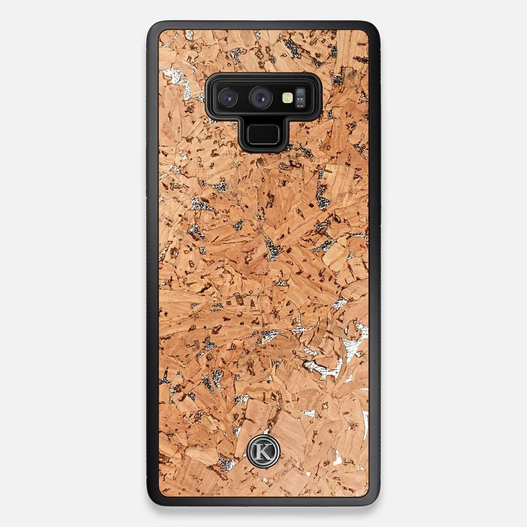 Front view of the silver fleck natural cork Galaxy Note 9 Case by Keyway Designs