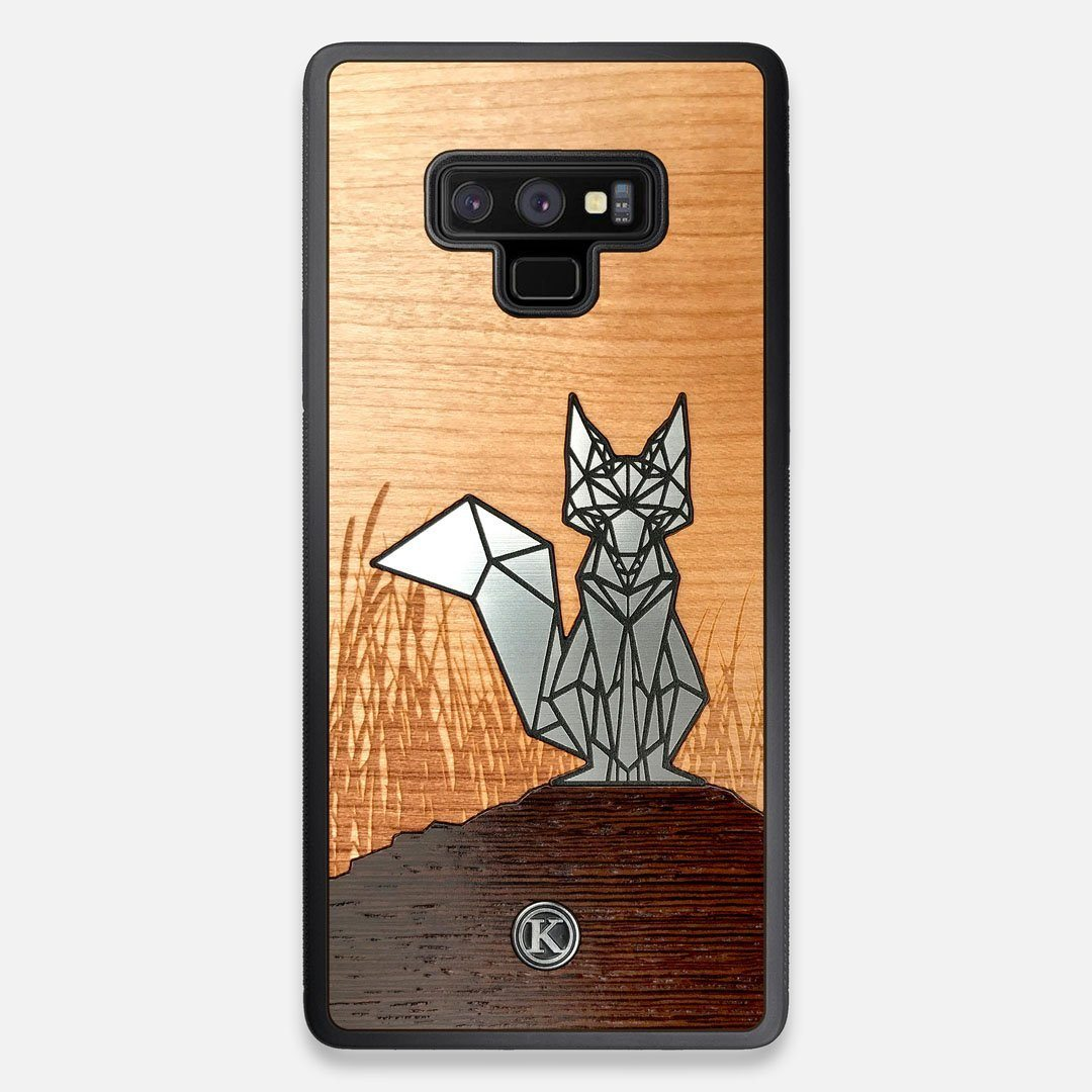 Front view of the Silver Fox & Cherry Wood Galaxy Note 9 Case by Keyway Designs