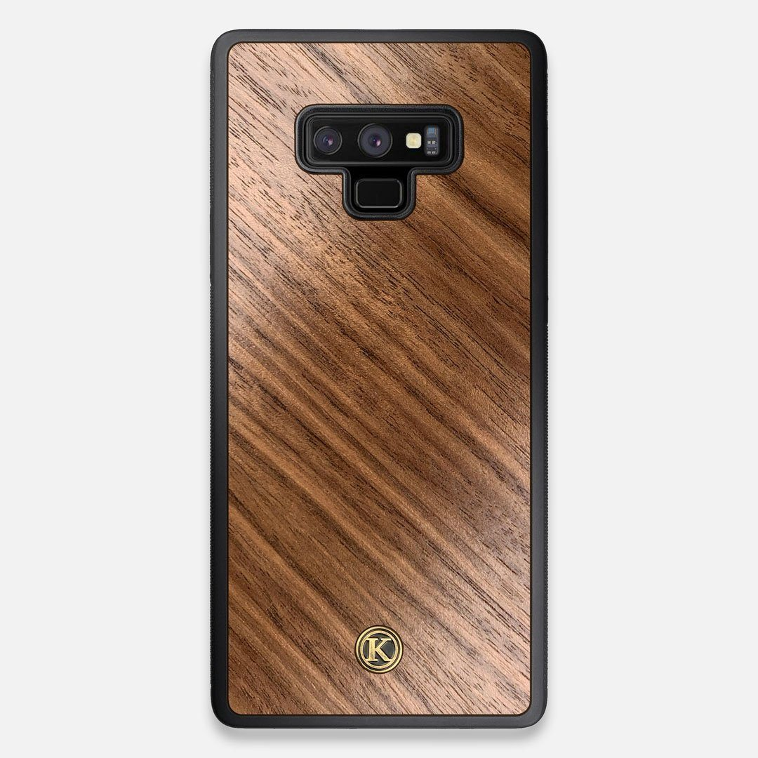 Front view of the Walnut Pure Minimalist Wood Galaxy Note 9 Case by Keyway Designs