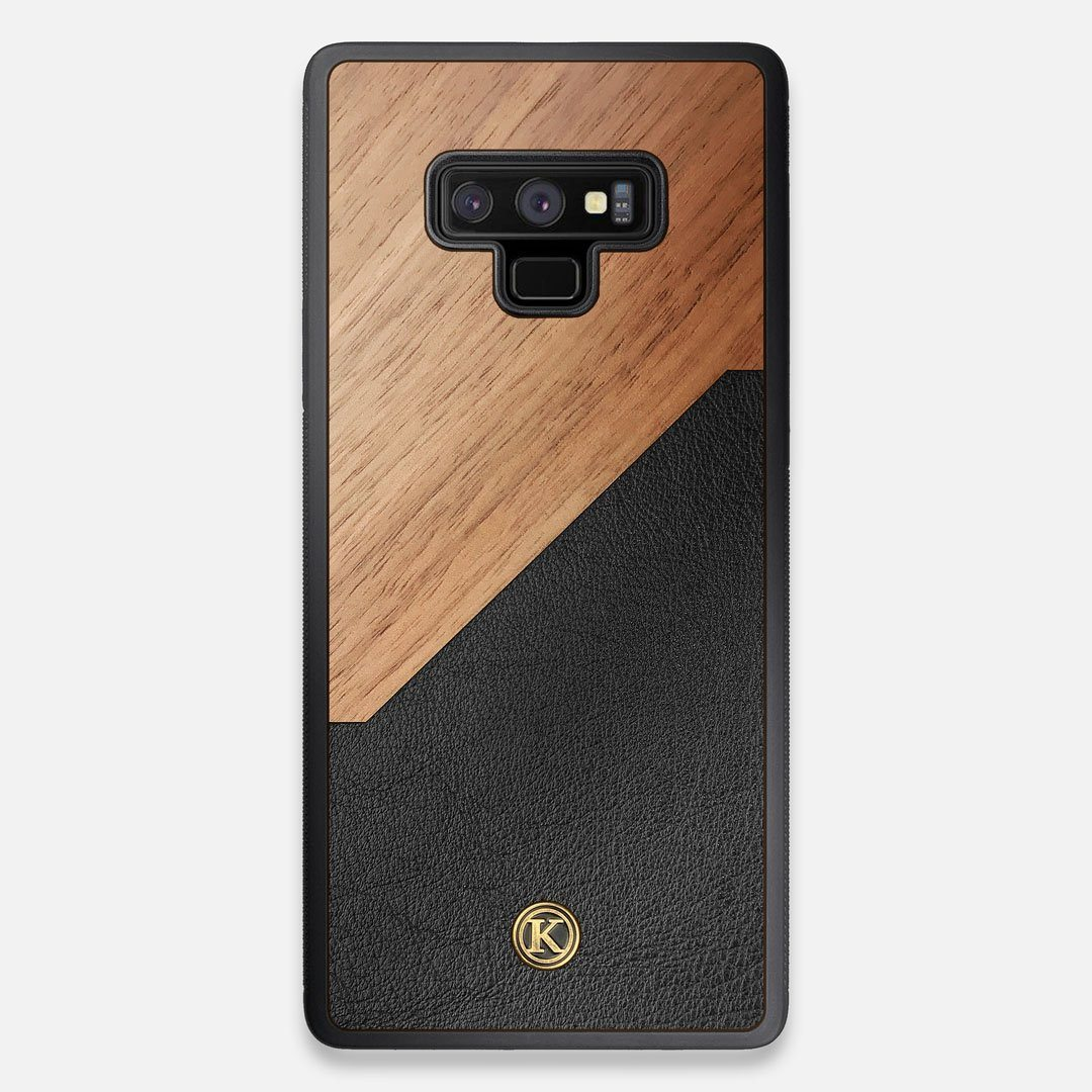 Front view of the Walnut Rift Elegant Wood & Leather Galaxy Note 9 Case by Keyway Designs